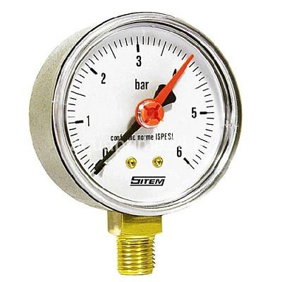 (SITEM) Манометр с красн.итндикат.нижнее подключ. MR-63 10 бар (60)(100)