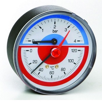 """Термоманометр аксиальный с запорным клапаном, заднее подключение, D=80мм, Т=0-120°C, Pmax 6, ICMA, арт.259  1/2"""""""