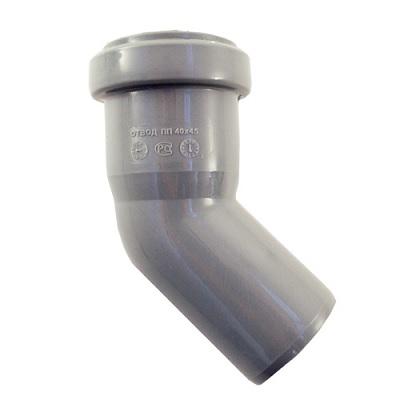 Отвод 45° для внутреней канализации, ПВХ, серый  50 мм