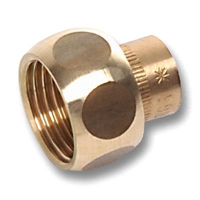 Муфта под пайку с ВР с накидной гайкой, плоская, бронза, арт. 4359g