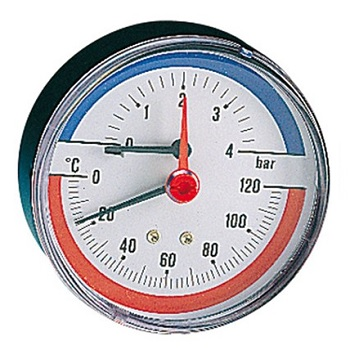 """Термоманометр Ø 80мм, аксиальный, заднее подключение,  Т=0-120°C, Pmax 4, Pintossi+C, арт.570  1/2"""""""
