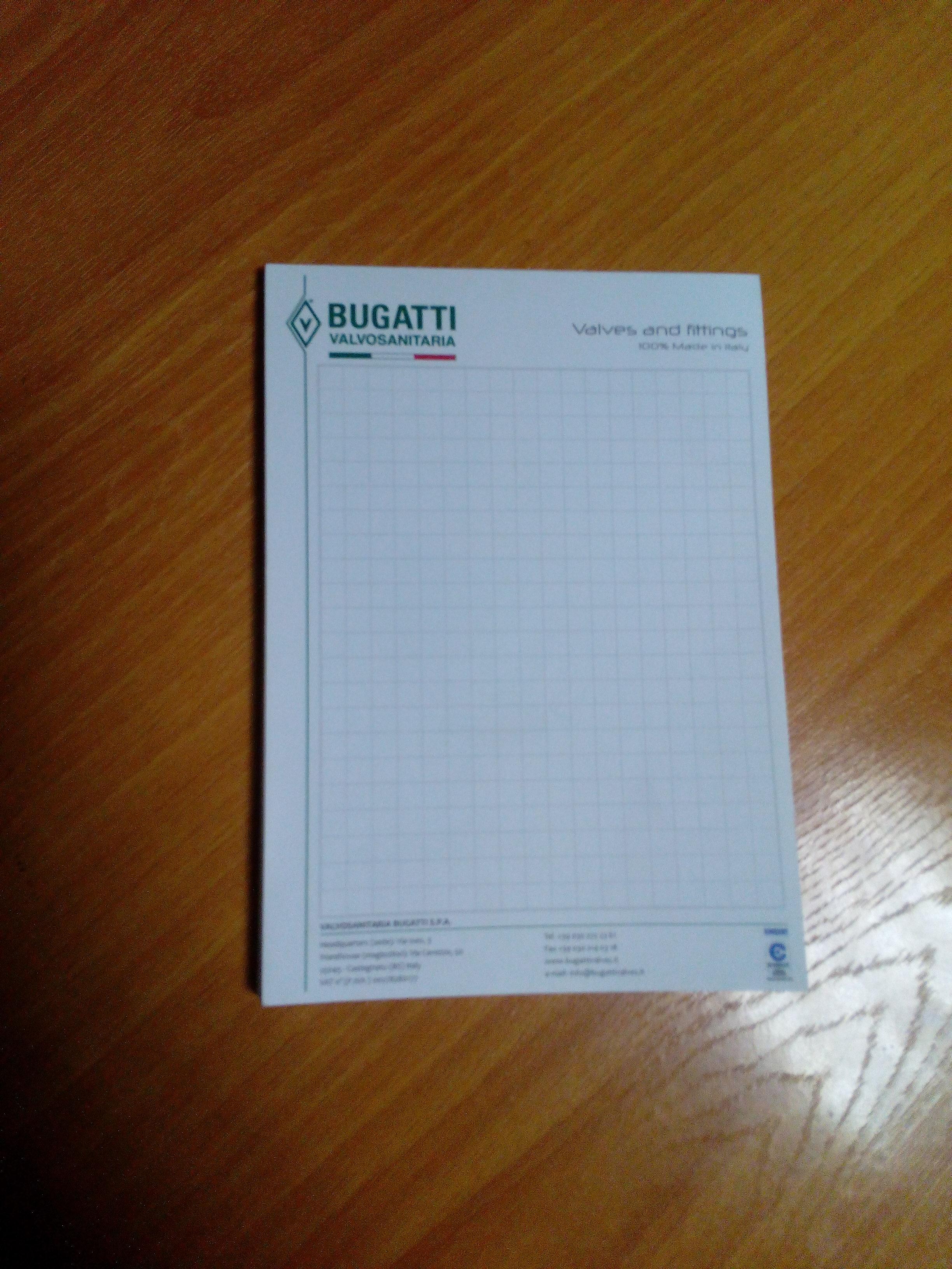 """""""Bugatti"""" Блокнот для записей - 10х14,5см. (клей)"""