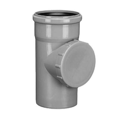 Ревизия с крышкой для внутреней канализации, ПВХ, серая  100 мм