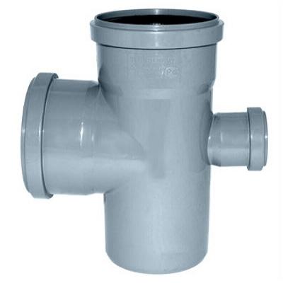 Крестовина редукционная, для внутреней канализации, ПВХ, серая  110х110х50мм